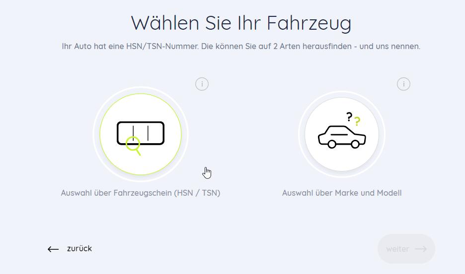 Ihr Auto hat eine HSN/TSN-Nummer. Die können Sie auf 2 Arten herausfinden - und uns nennen.