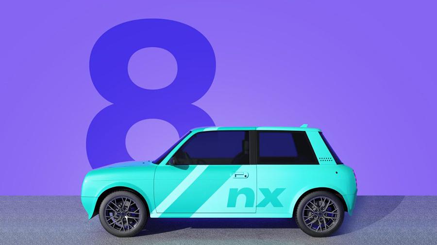 Illustration eines Autos in Türkis, violetter Hintergrund mit der Zahl Acht