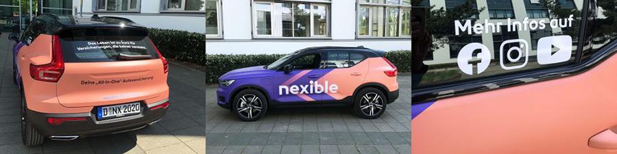 """Drei Aufnahmen eines Autos mit Schriftzug """"nexible"""" auf der Seite"""