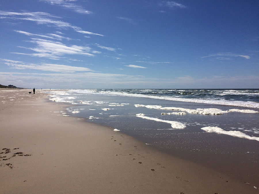 Blick auf Strand und Meer in Bergen aan Zee Strand