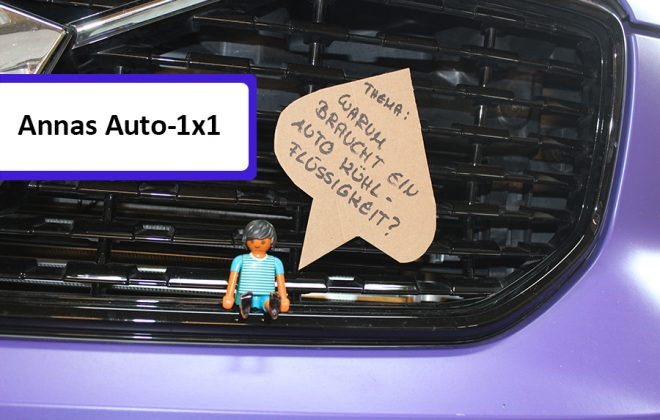 """Playmobilmännchen sitzt auf Stoßstange, daneben eine Sprechblase, in der steht """"Warum braucht ein Auto Kühlflüssigkeit?"""""""